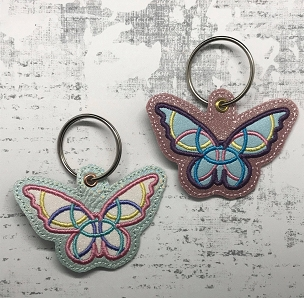 Satin Butterfly Snaptab / Keyfob Embroidery Design